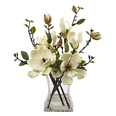 """Nearly Natural 15""""H Plastic Magnolia Arrangement With Vase, White"""