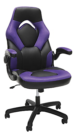 OFM Essentials 3085 Racing-Style Bonded Leather High-Back Gaming Chair, Black/Purple