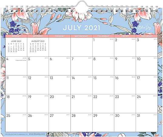 "Blue Sky™ Monthly Wall Calendar, 8-3/4"" x 11"", Lillian, July 2021 To June 2022, 127144"