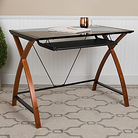 "Flash Furniture 36""W Glass Computer Desk With Crisscross Frame, Black"