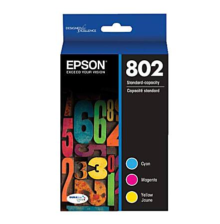 Epson® 802 DuraBrite® Cyan/Magenta/Yellow Ink Cartridges, Pack Of 3, T802520-S