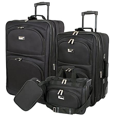 Overland Geoffrey Beene Westchester 4-Piece Luggage Set, Black