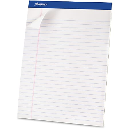 """Ampad Basic Micro Perforated Writing Pads, 50 Sheets, Stapled, Wide Ruled, 8 1/2"""" x 11 3/4"""", White Paper, Pack Of 12"""