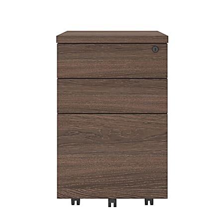 "Ameriwood™ Home AX1 19-15/16""D Vertical 3-Drawer Mobile File Cabinet, Medium Brown"