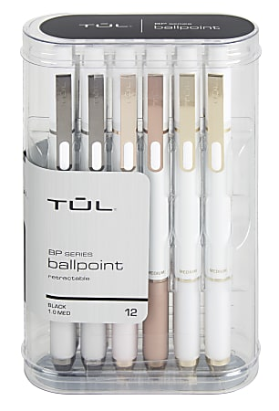 TUL® BP3 Retractable Ballpoint Pens, Medium Point, 1.0 mm, Pearl White Barrel, Black Ink, Pack Of 12 Pens