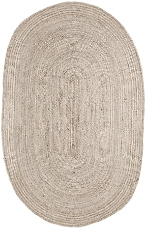 Anji Mountain Kerala Natural Jute Rug, Oval, 6' x 9', Ivory