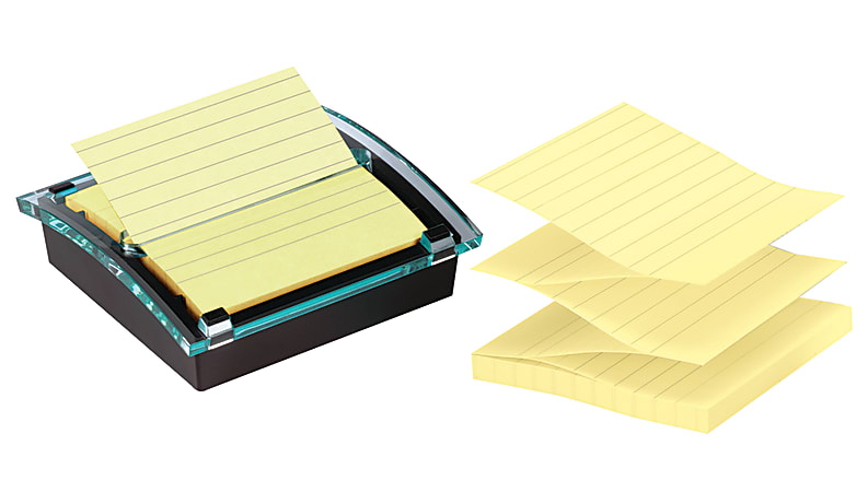 "Post-it® Notes Super Sticky Pop-Up Notes With Designer Dispenser, 4"" x 4"", Black, Pack Of 3 Pads"