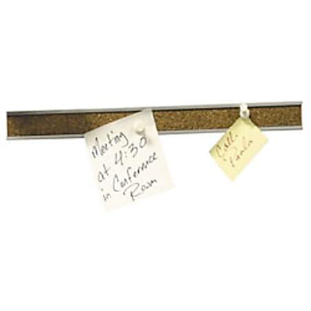 "Quartet® Natural Cork Bulletin Bar, 1"" x 124"", White"