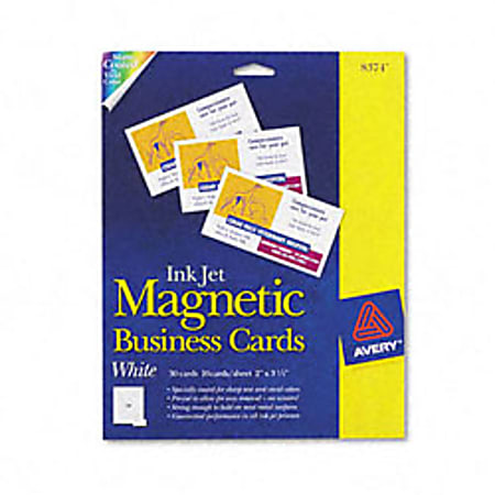 Avery® Magnetic Business Cards, Inkjet Compatible, White, Matte Finish, 10 Cards Per Sheet, Pack Of 3 Sheets