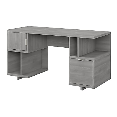 """kathy ireland® Home by Bush Furniture Madison Avenue 60""""W Computer Desk With Drawer/Storage Shelves/Door, Modern Gray, Standard Delivery"""