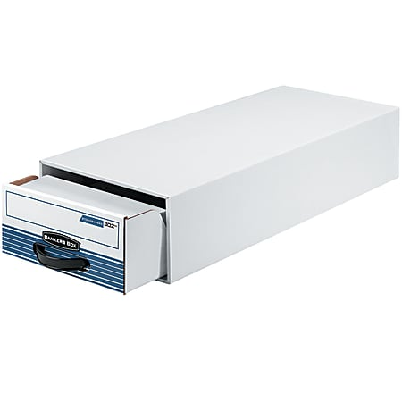 """Bankers Box® Steel Plus™ Plastic Storage Drawer, 6 1/2"""" x 10 1/2"""" x 25 1/4"""", 65% Recycled, White/Blue"""