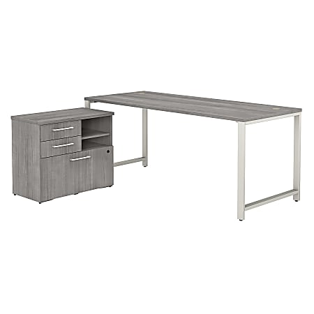 """Bush Business Furniture 400 Series 72""""W x 30""""D Table Desk With Storage, Platinum Gray, Standard Delivery"""