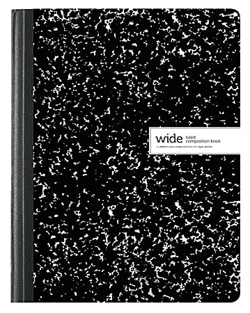 """Office Depot® Brand Composition Book, 7-1/2"""" x 9-3/4"""", Wide Ruled, 100 Sheets, Black/White"""