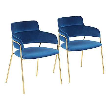 LumiSource Napoli Velvet Chairs, Blue/Gold, Set Of 2 Chairs