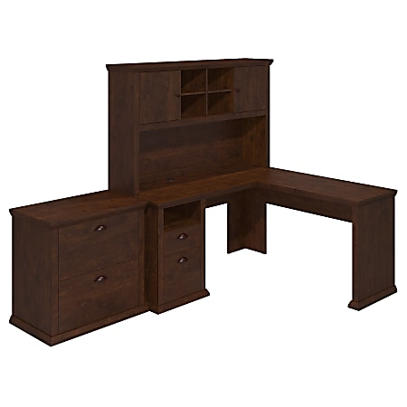 """Bush Furniture Yorktown 60""""W L-Shaped Desk With Hutch And Lateral File Cabinet, Antique Cherry, Standard Delivery"""