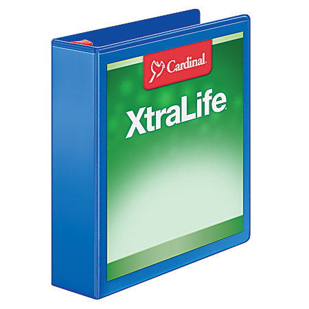 "Cardinal® XtraLife™ Locking Slant-D® Ring 3-Ring Binder, 2"" D-Rings, 55% Recycled, Black"