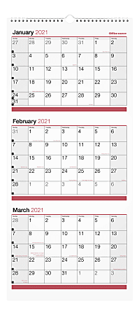 """Office Depot® Brand 3-Month Monthly Wall Calendar, 12"""" x 27"""", White, January To December 2021, OD303028"""