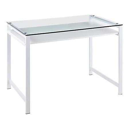 "LumiSource Hover 44""W Desk, Clear/White"