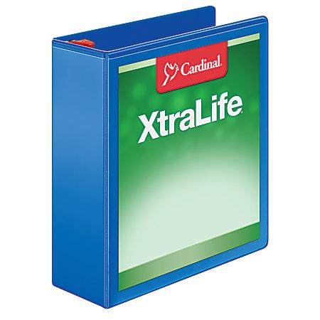 "Cardinal® XtraLife™ Locking Slant-D® Ring 3-Ring Binder, 3"" D-Rings, 55% Recycled, Blue"