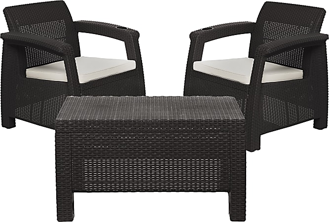 Inval MQ FERRARA 3-Piece Stay Furniture Set, Espresso/Tan
