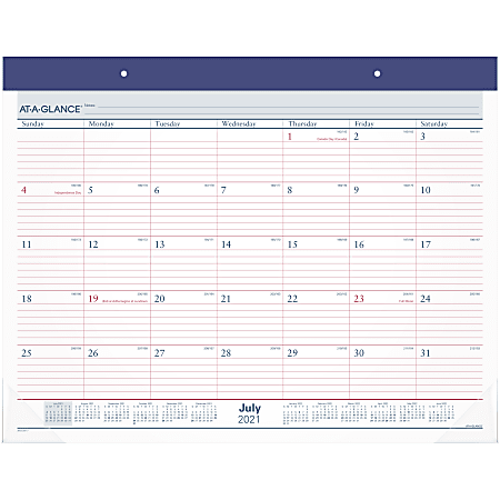 """AT-A-GLANCE® 2-Color Academic Monthly Desk Pad Calendar, 21-3/4"""" x 17"""", July 2021 To June 2022, AYST2417"""