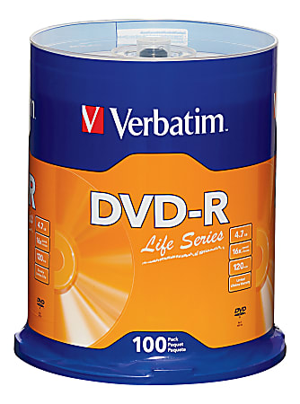 Verbatim® Life Series DVD-R Disc Spindle, Pack Of 100