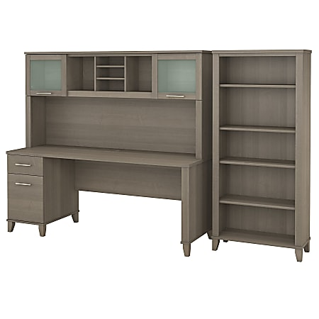 """Bush Furniture Somerset 72""""W Office Desk With Hutch And 5 Shelf Bookcase, Ash Gray, Standard Delivery"""