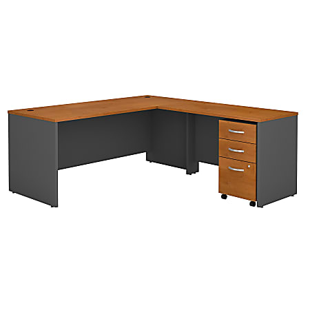 """Bush Business Furniture Components 72""""W L Shaped Desk with 3 Drawer Mobile File Cabinet, Natural Cherry/Graphite Gray, Premium Installation"""