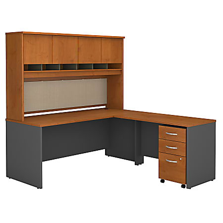 """Bush Business Furniture Components 72""""W L Shaped Desk with Hutch and 3 Drawer Mobile File Cabinet, Natural Cherry, Standard Delivery"""