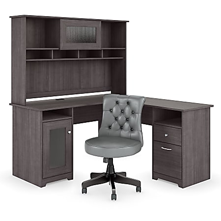 """Bush Furniture Cabot 60""""W L-Shaped Desk With Hutch And Mid-Back Tufted Office Chair, Heather Gray, Standard Delivery"""