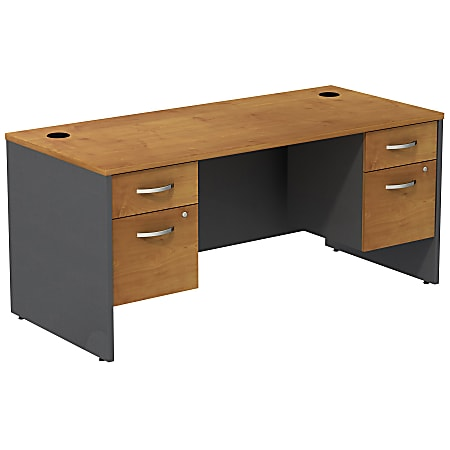 Bush Business Furniture Components Desk With Two 3/4 Pedestals, Natural Cherry/Graphite Gray, Standard Delivery