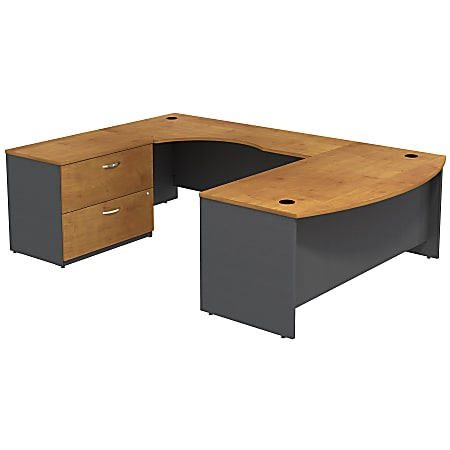 Bush Business Furniture Components Bow Front U Shaped Desk With 2 Drawer Lateral File Cabinet, Natural Cherry, Premium Installation