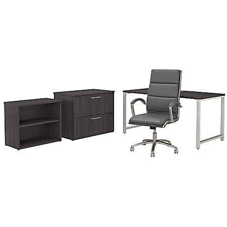 """Bush Business Furniture 400 Series 60""""W x 30""""D Table Desk And Chair Set With Storage, Storm Gray, Premium Installation"""