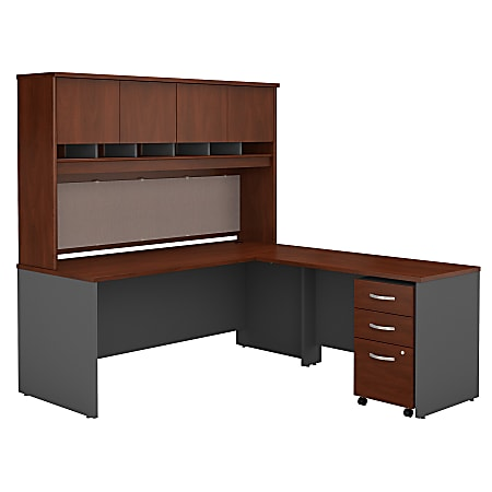 "Bush Business Furniture Components 72""W L Shaped Desk with Hutch and 3 Drawer Mobile File Cabinet, Hansen Cherry/Graphite Gray, Premium Installation"