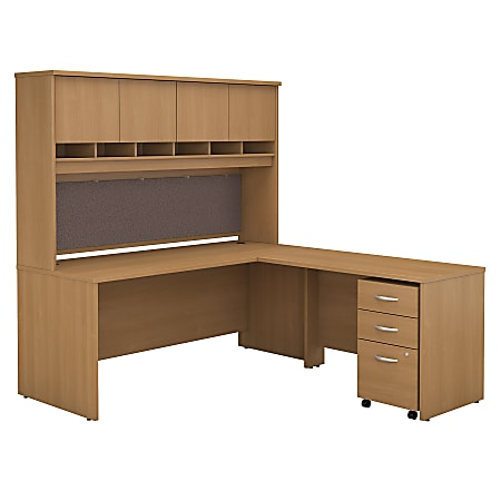 """Bush Business Furniture Components 72""""W L Shaped Desk with Hutch and 3 Drawer Mobile File Cabinet, Light Oak, Premium Installation"""