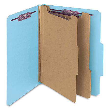 """Smead® Classification Folders, 2"""" Expansion, 2 Dividers, 8 1/2"""" x 11"""", Letter, 100% Recycled, Blue, Box of 10"""