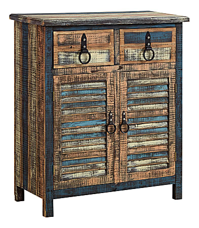 """Powell® Home Fashions Bota 2-Door 2-Drawer Console Table, 35-1/4""""H x 30-1/2""""W x 13-3/4""""D, Weathered Multicolor"""