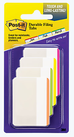 """Post-it® Notes Durable Filing Tabs, 2"""", Assorted Colors, 6 Flags Per Pad, Pack Of 4 Pads"""