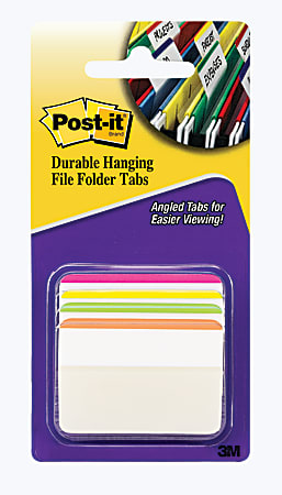 "Post-it® Notes Durable Hanging Angled Lined File Folder Tabs, 2"" x 1-1/2"", Assorted Bright Colors, Pack Of 24 Tabs"