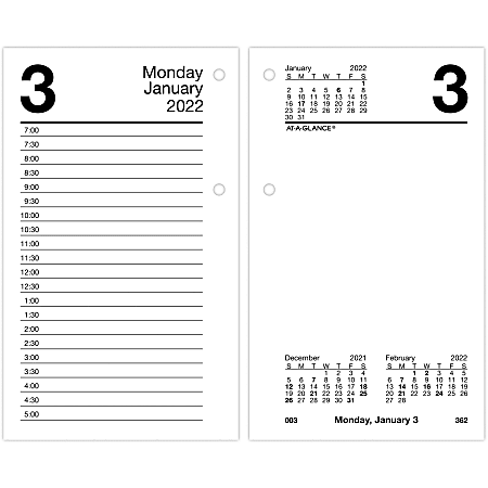 """AT-A-GLANCE Daily Loose-Leaf Desk Calendar Refill, 3-1/2"""" x 6"""", January To December 2022, E7175022"""