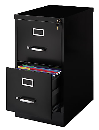 """WorkPro® 22""""D Vertical 2-Drawer File Cabinet, Metal, Black"""