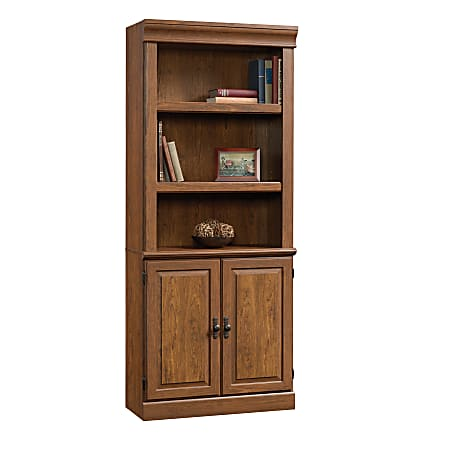 Sauder® Orchard Hills 5-Shelf Library Bookcase, With Doors, Milled Cherry