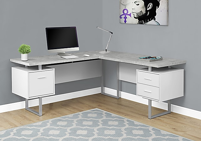 Monarch Specialties L-Shaped Corner Computer Desk With 2 Drawers, Gray Cement/White