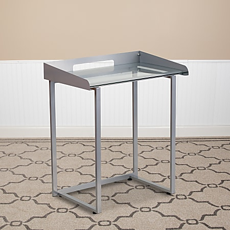 """Flash Furniture 27-1/2""""W Contemporary Tempered-Glass Desk, Clear/Silver"""