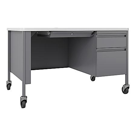 Lorell™ Fortress Steel Right-Pedestal Mobile Teacher's Desk, White/Platinum