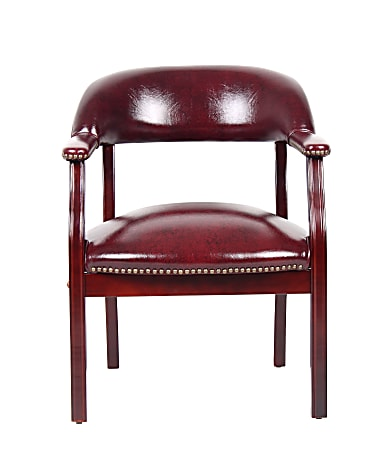 Boss Office Products Traditional Tufted Conference Chair, Oxblood/Mahogany