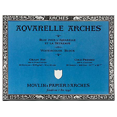 """Arches® Aquarelle Watercolor Block, 300 Lb, Cold Press, 12"""" x 16"""""""