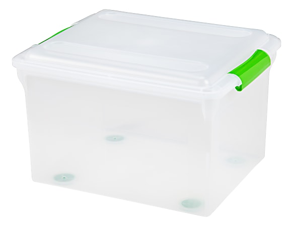 Iris® Stor N Slide File Boxes, Legal Size, Clear/Green, Pack Of 4