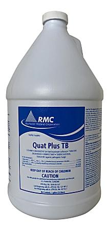 Rochester Midland Quat Plus TB Disinfectant, Lemon Scent, 1 Gallon, Pack Of 4 Bottles