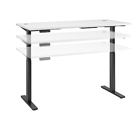"""Bush Business Furniture Move 60 Series 72""""W x 30""""D Height Adjustable Standing Desk, White/Black Base, Standard Delivery"""